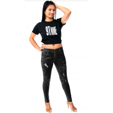 Women's jeans black patched